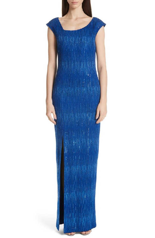 3dcd7812f04a St. John Asymmetrical Neck Carrie Knit Evening Dress In Blue | ModeSens