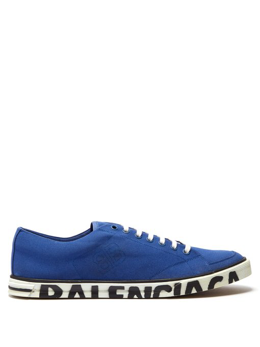 Balenciaga Match Logo-Print Canvas Sneakers In Blue
