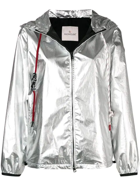 Moncler Mikael Metallic Coated Cotton Jacket In 900 Silver Grey