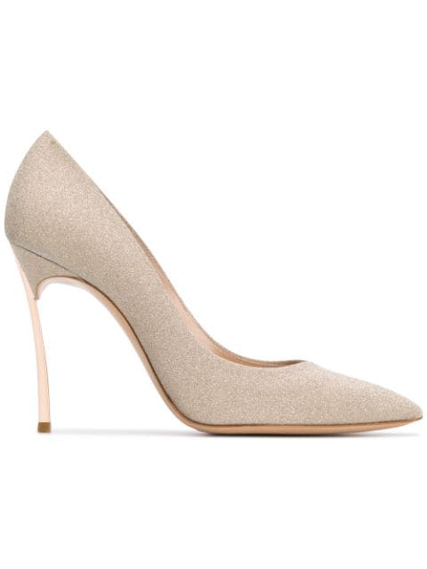 Casadei Pointy Pumps With Blade Heel In Gold