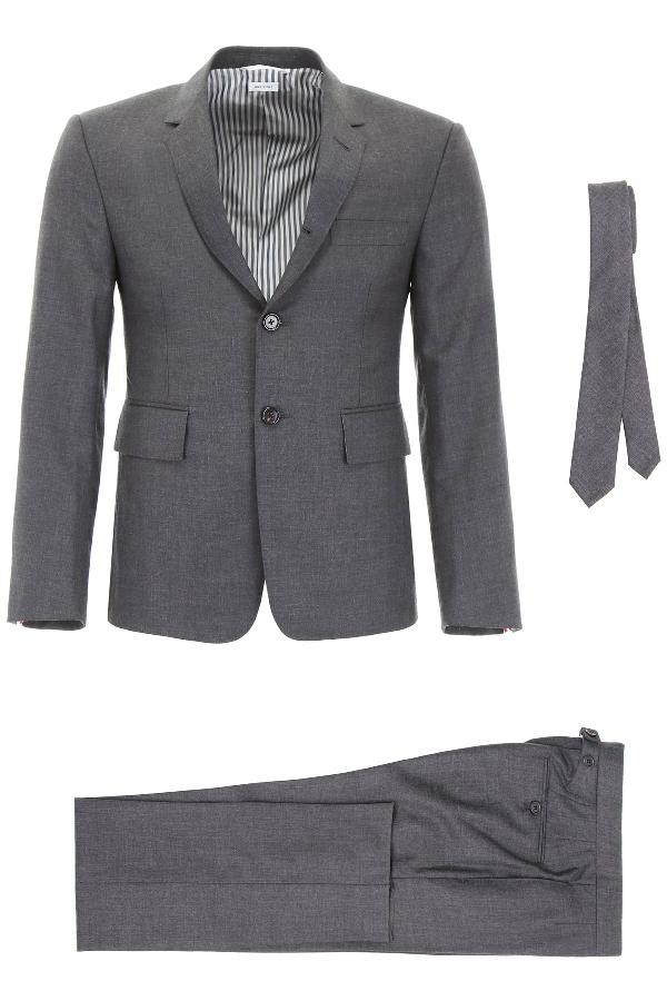 Thom Browne Wool Gabardine Suit In Dark Grey