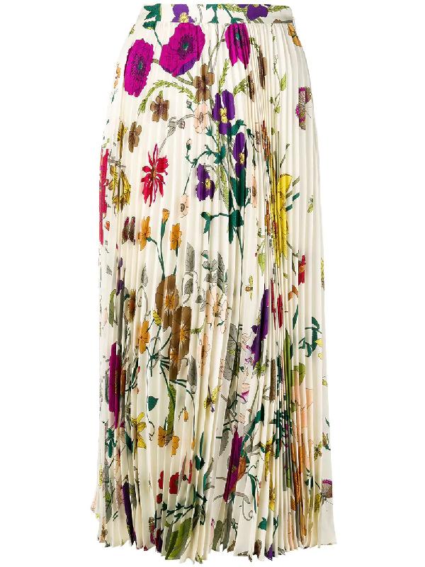 ecbacc7ed3 Gucci Gothic Floral Print Pleated Silk Twill Midi Skirt In Neutrals ...