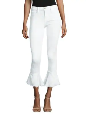 Peserico Le Skinny De Jeanne Flounce Raw Hem Skinny Jeans In Blanc
