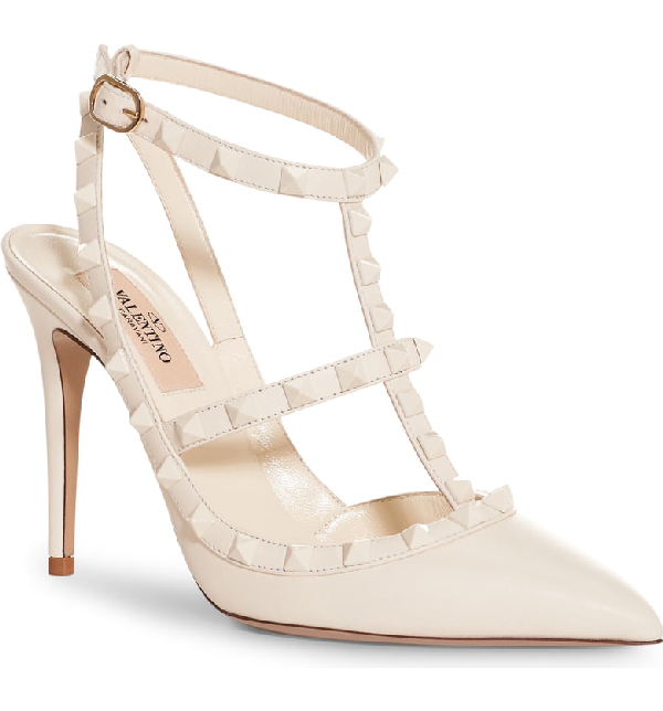 Valentino Rockstud Leather Slingback Pumps In White