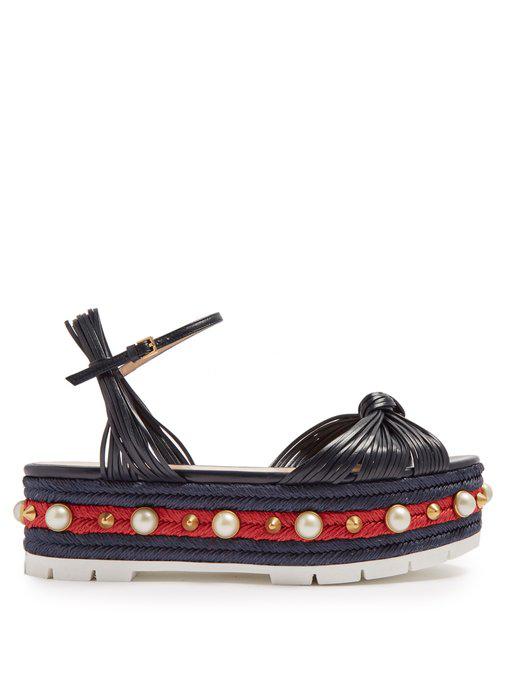 b1ef7c2e3699 Gucci Pearl-Embellished Leather Flatform Sandals In Navy-Blue