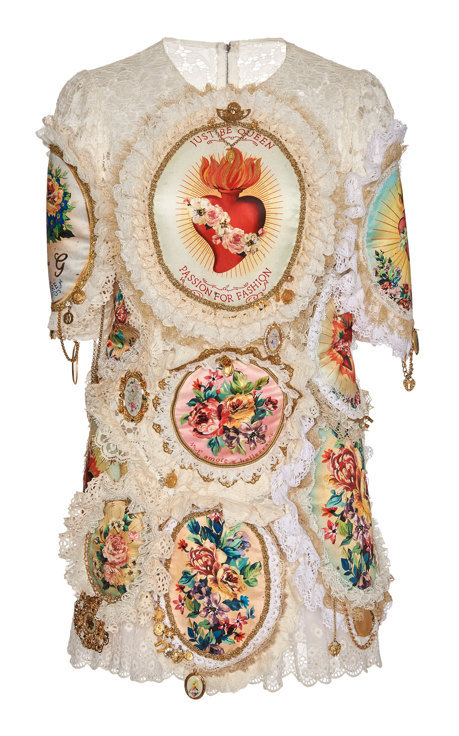 990eb19d4ee Dolce   Gabbana Embroidered Eyelet Lace Mini Dress In Floral. Moda Operandi