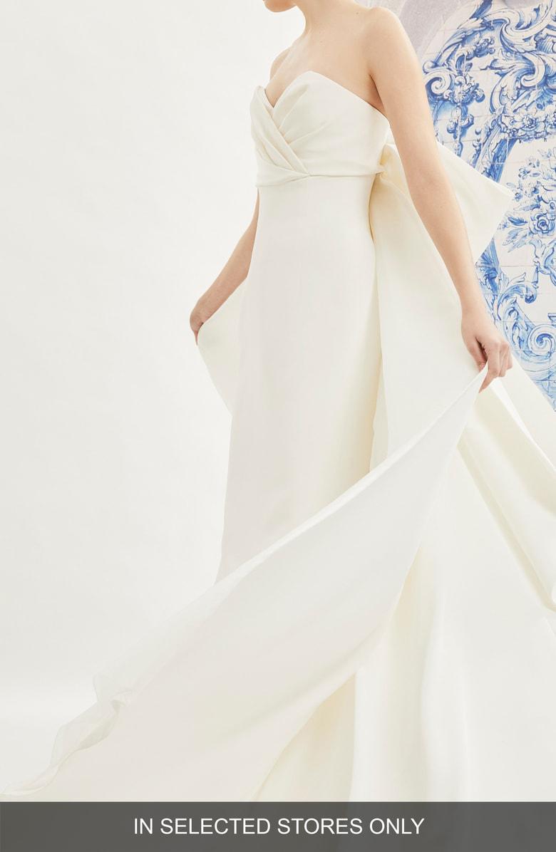 Carolina Herrera Indira Bow Back Detail Strapless Wedding Dress In