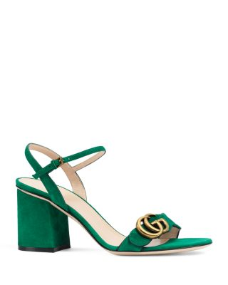 784a2ad8fd8 Gucci Marmont Suede Block-Heel Sandals In Emerald Green Gold