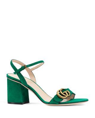297958342177 Gucci Marmont Suede Block-Heel Sandals In Emerald Green Gold