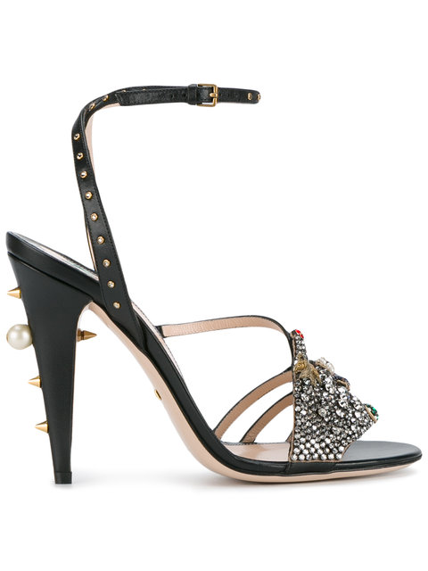 dd0524bf9ce Wangy Crystal Hand Strappy High Heel Sandals in Black