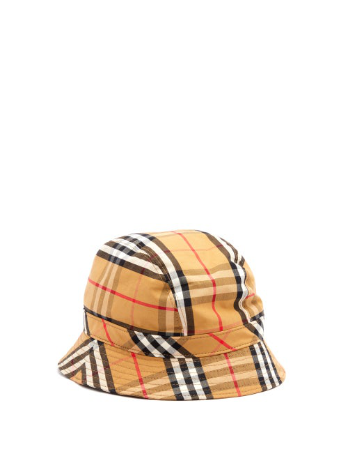 ea1170d4b Vintage Check Print Cotton Bucket Hat in Brown