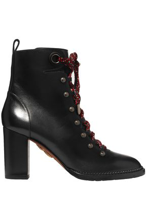 Aquazzura Woman Hiker Lace-Up Studded Leather Ankle Boots Black