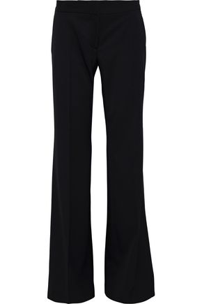 Stella Mccartney Grosgrain-Trimmed Wool Wide-Leg Pants In Black