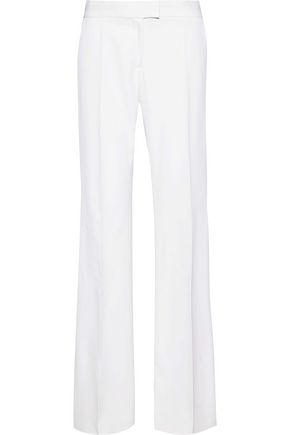 Stella Mccartney Woman Grosgrain-Trimmed Wool Wide-Leg Pants Ivory