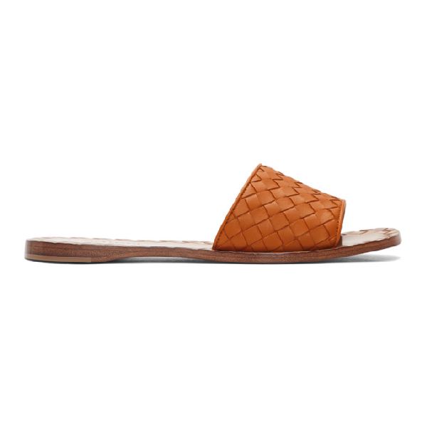 267be17b5 Bottega Veneta Ravello Intrecciato Leather Slides In Brown | ModeSens