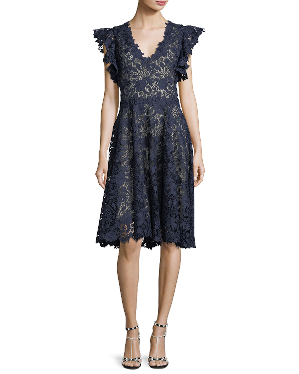 Monique Lhuillier Ruffle-Sleeve Lace Cocktail Dress In Navy