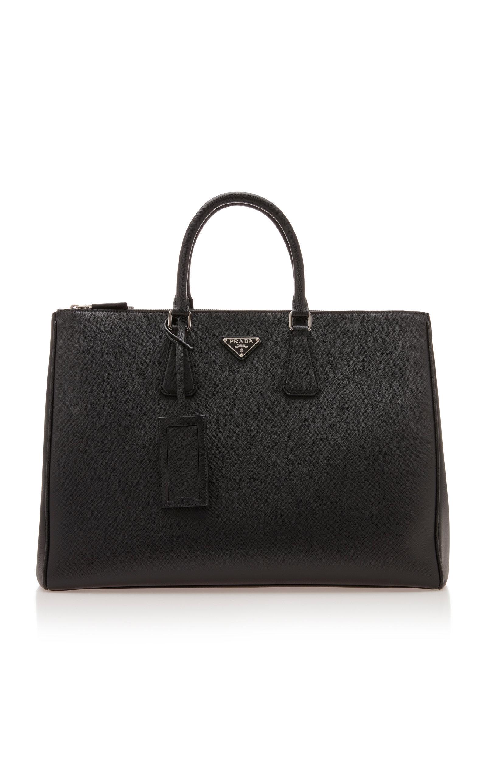 Prada Large Leather Travel Briefcase In Black