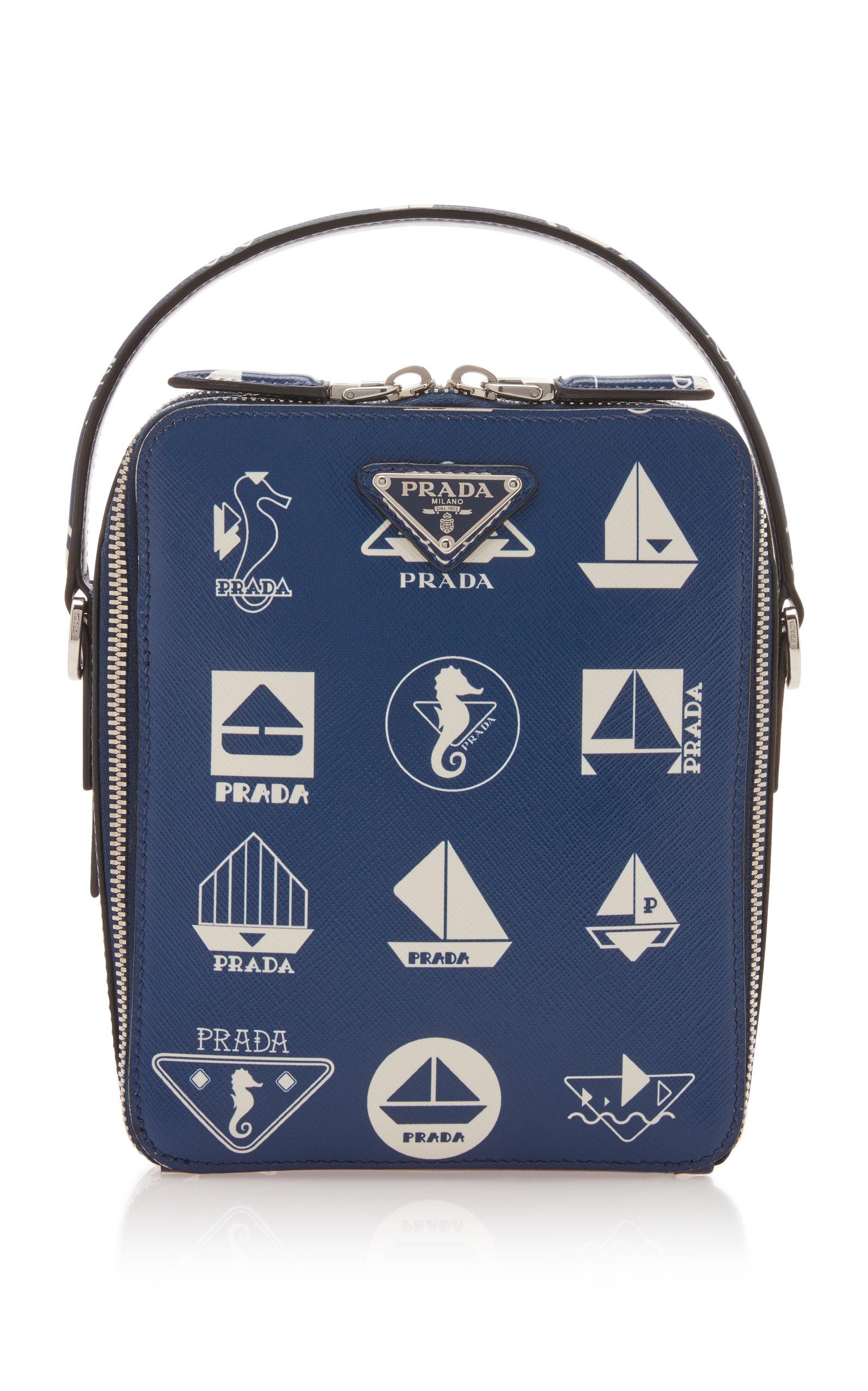 Prada Nautical Leather Crossbody Bag In Blue