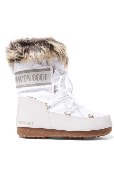 wholesale dealer e28b5 a85df Monaco Faux Fur-Lined Shell And Faux Leather Snow Boots in White