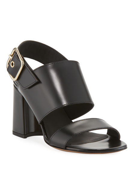 87c1a8a34f Dries Van Noten Calf Leather Slingback Sandals In Black | ModeSens