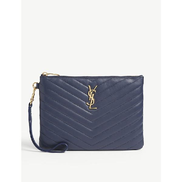 e7c084ee047 Saint Laurent Monogram Ysl Quilted Wristlet Pouch Bag In Denim Brut ...