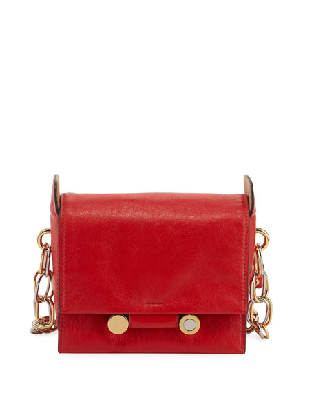 Marni Flap Leather Crossbody Bag In Orange/Red