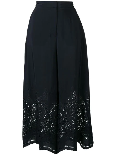 Stella Mccartney Embroidered Palazzo Pants In Blue