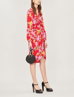 130c86a80e4e Diane Von Furstenberg Carla Floral-Print Crepe Wrap Dress In Celebration  Floral Red