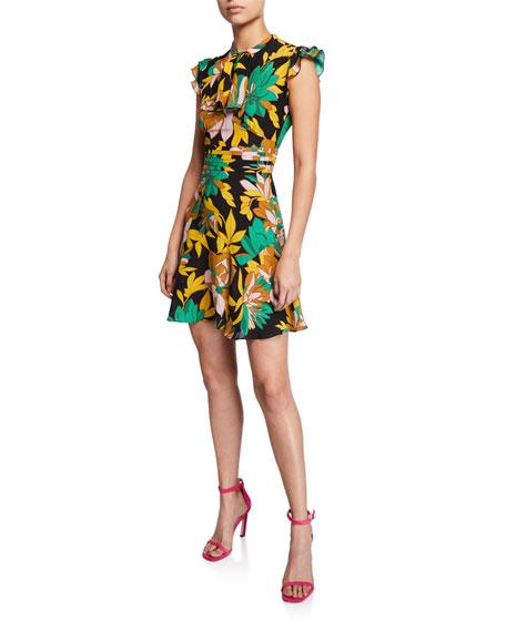N°21 Floral-Print Cap-Sleeve Silk Dress