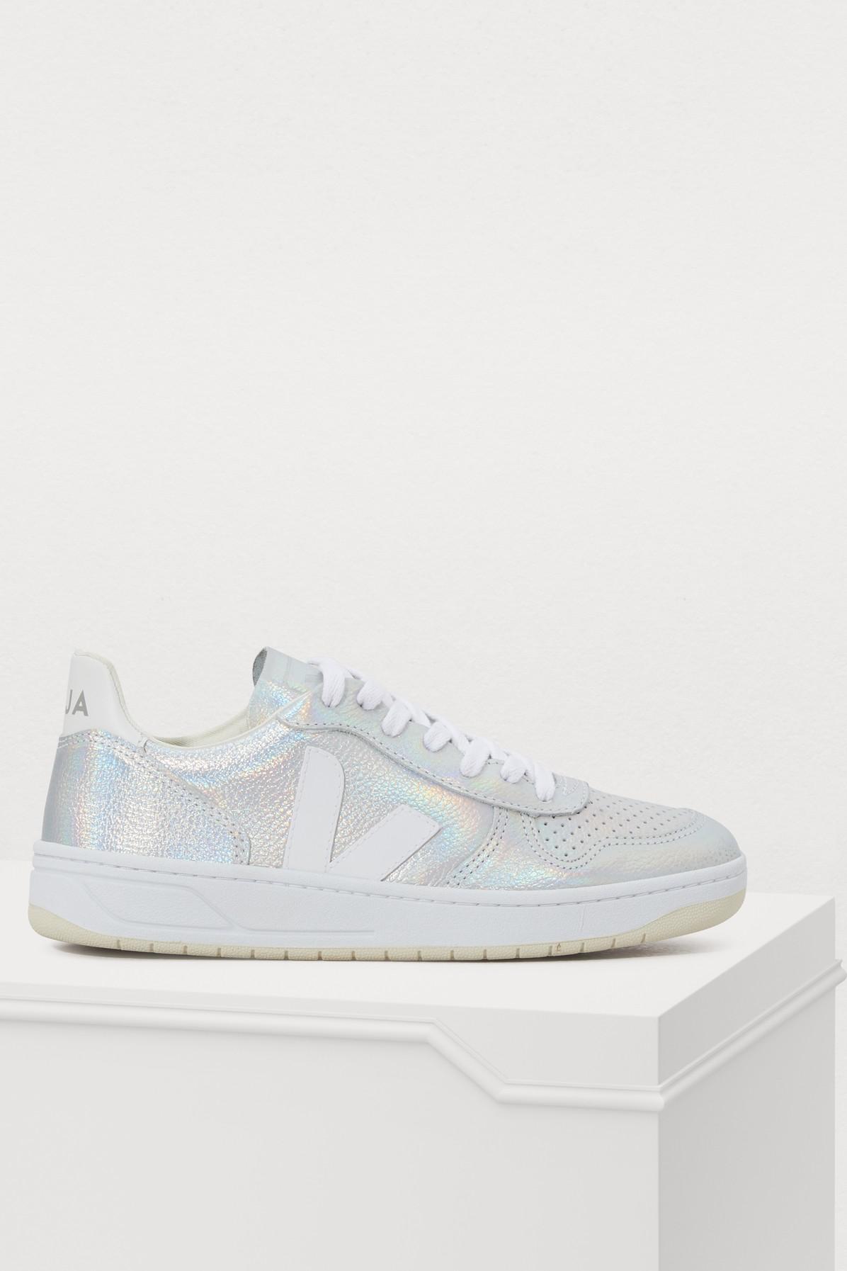 Veja V-10 Metallic Leather Sneakers In Unicorn/White
