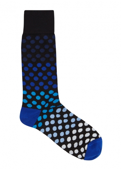 Paul Smith Men's Tricolor Polka-Dot Socks In Blue