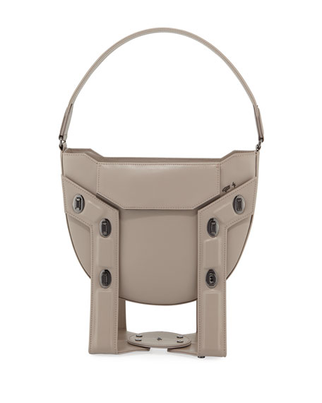 Christopher Belt Aerial Leather Framed Tote/Hobo Bag With Stand In Taupe