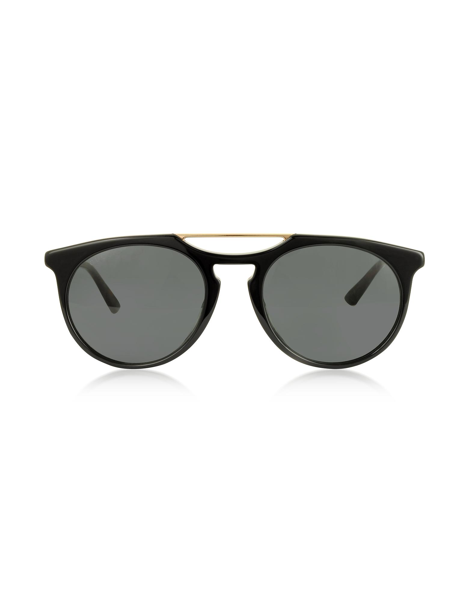 Gucci Gg0320S Round-Frame Acetate Sunglasses In Black Gold/Grey