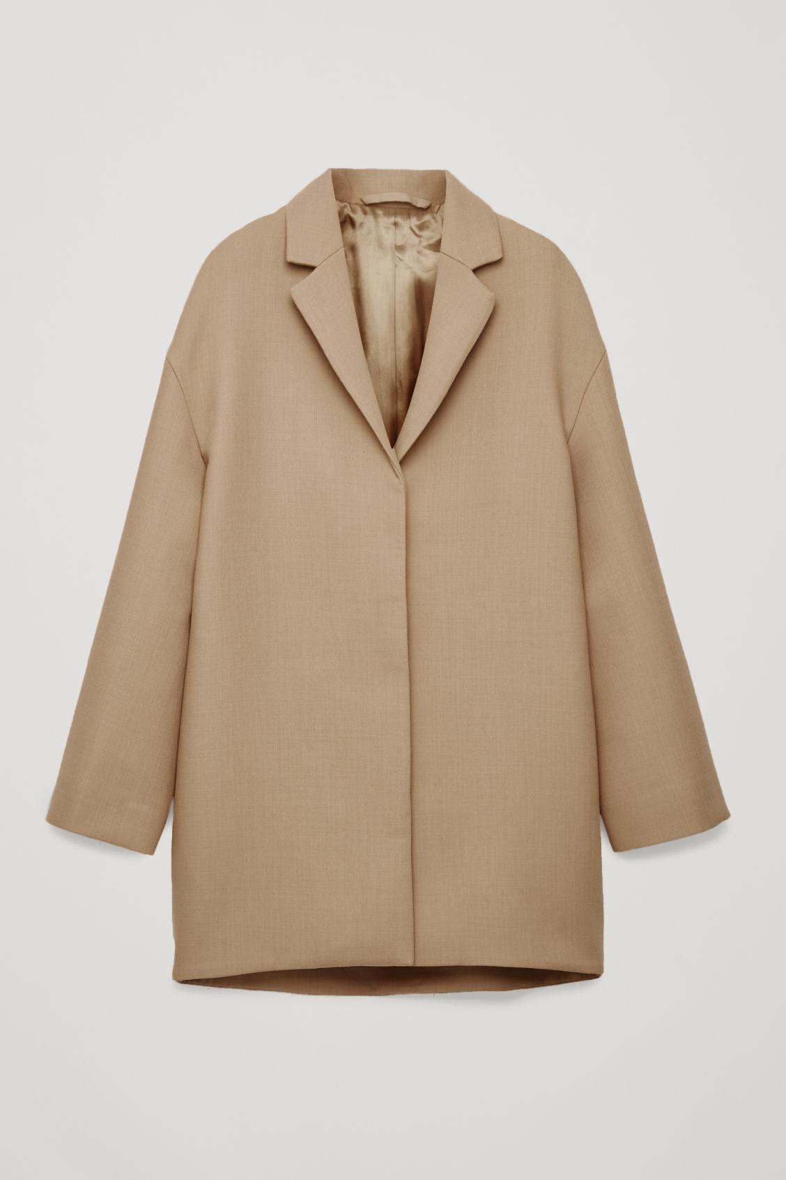 Cos Wool-Blend Cocoon Coat In Beige