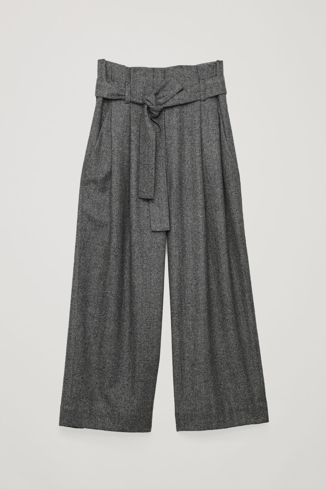 Cos Belted Herringbone Wool Trousers In Grey