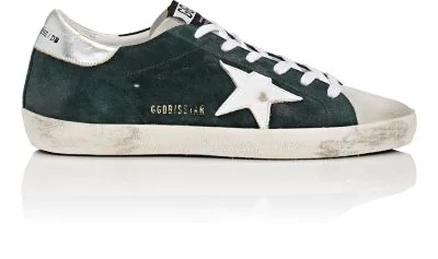 Golden Goose Suede Superstar Low Sneakers In Dk. Green