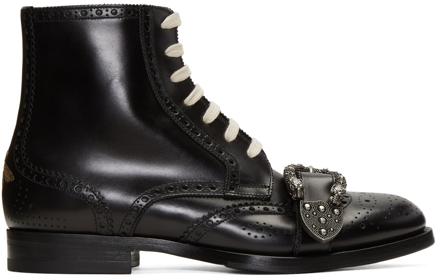 Gucci Dionysus Buckle-Strap Leather Wingtip Boots - Black In 1000 Black
