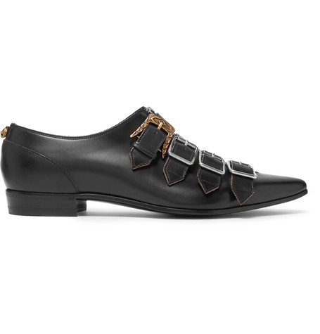 5de05a3a3a27 Gucci Buckle-Fastening Point-Toe Leather Shoes In Black Leather ...