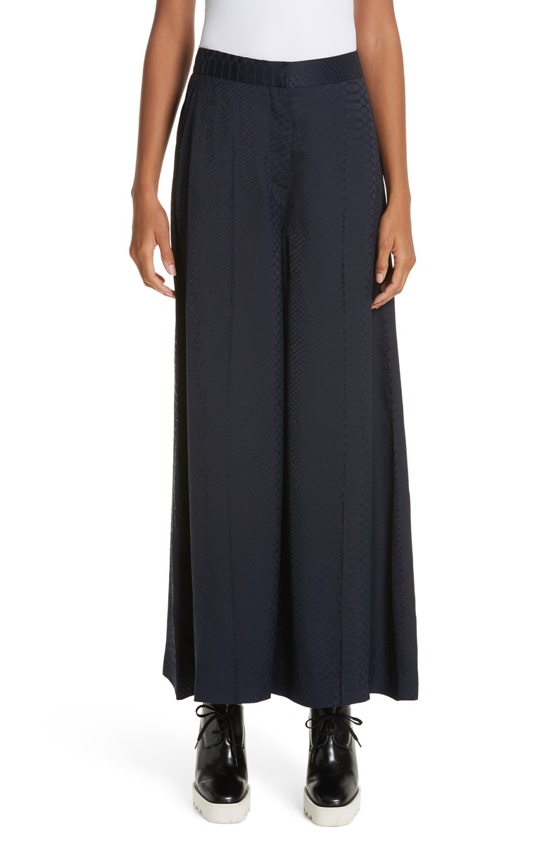 Stella Mccartney Snake Crop Wide Leg Pants In Ink