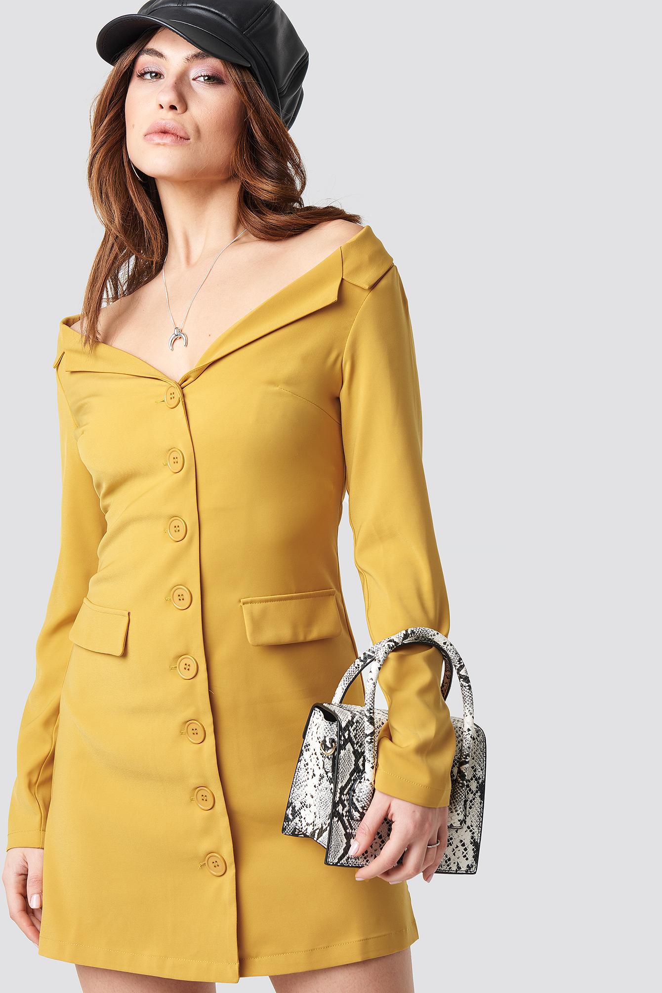 b50373c64096 Na-Kd Off Shoulder Blazer Dress - Yellow | ModeSens