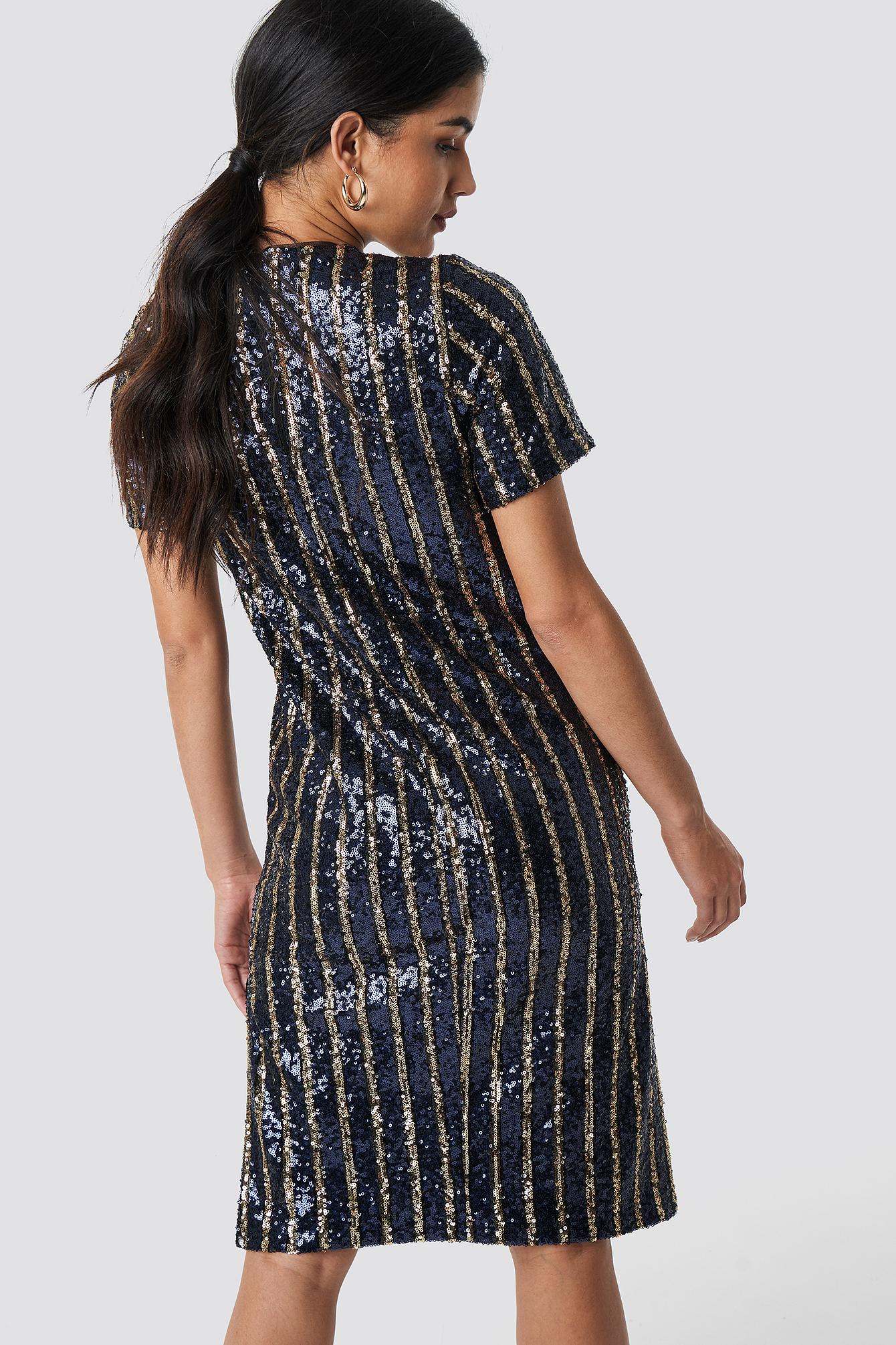 Na-Kd Striped Sequins Side Slit Dress - Blue,Multicolor