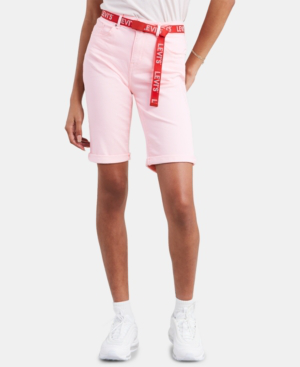 Levi's Denim Bermuda Shorts In Light Pink Twill
