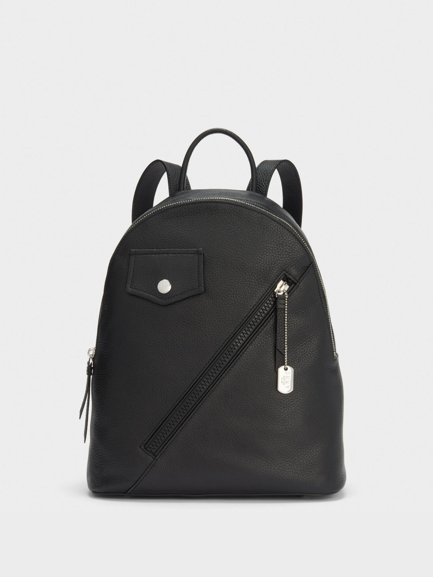 705347152 Donna Karan Jagger Leather Backpack In Black/Silver | ModeSens