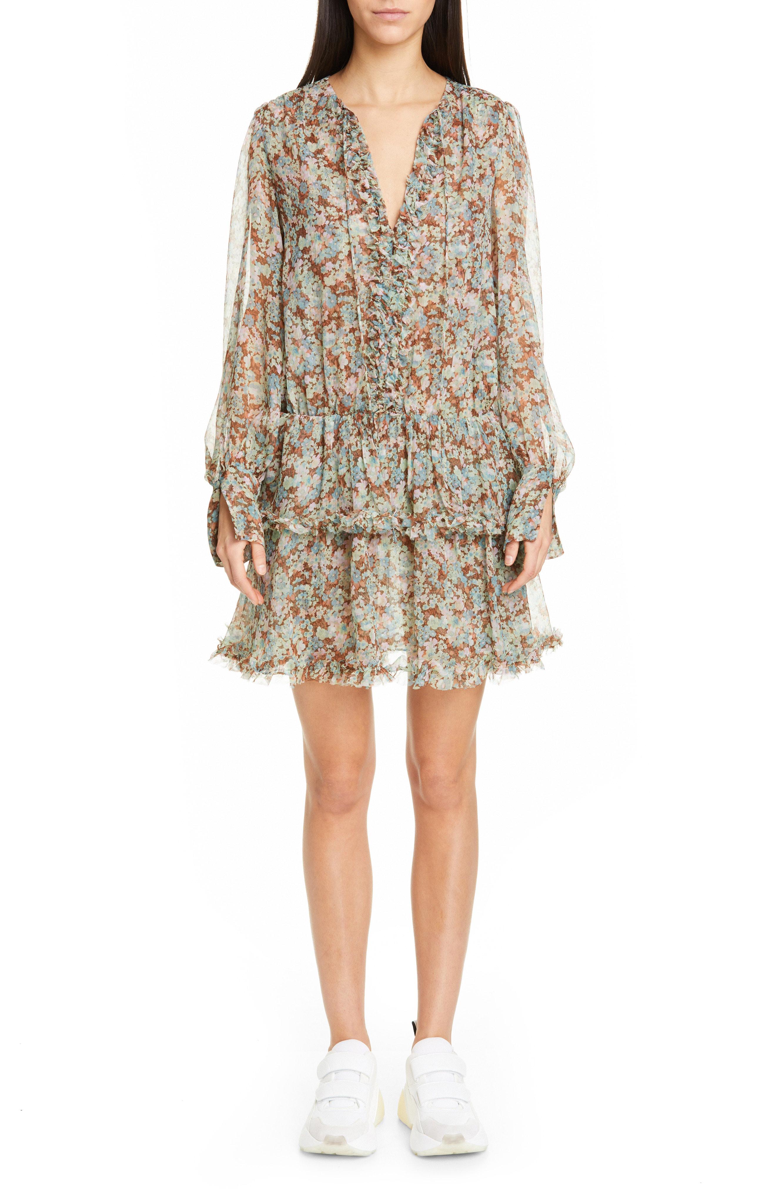 834061ebde13b Stella Mccartney Meadow Floral-Print Long-Sleeve Dress In Multicolour