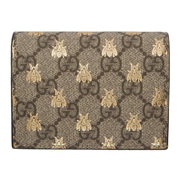 11bd5f941e62 Gucci Gg Supreme Bees Card Case Wallet In 8319 Tan | ModeSens
