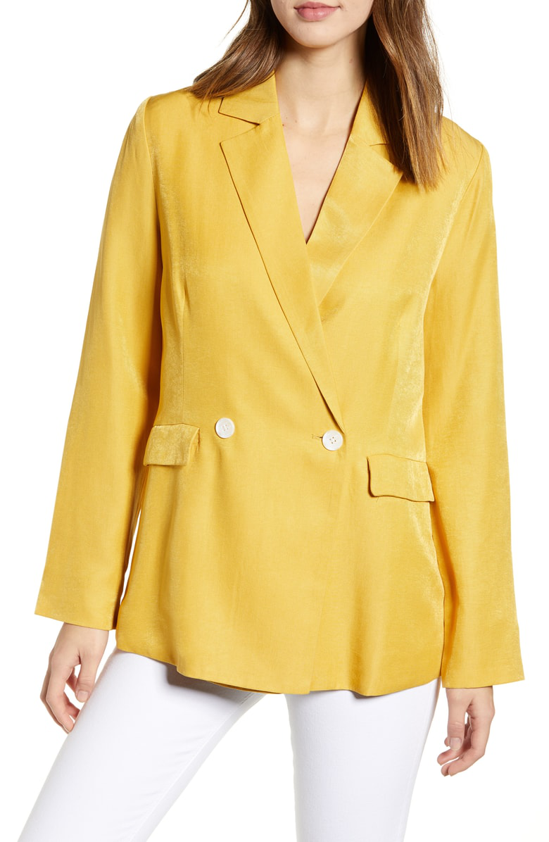 English Factory Double Breasted Blazer In Yellow