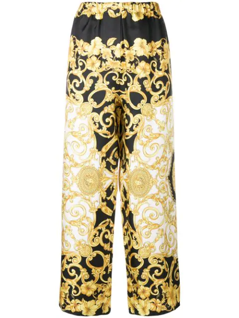 Versace Printed Cropped Silk-Charmeuse Wide-Leg Pants In A7900 F.Do Nero+Stampa Oro