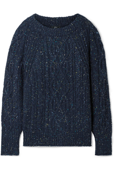 J.Crew Scotty Marled Cable-Knit Sweater In Navy