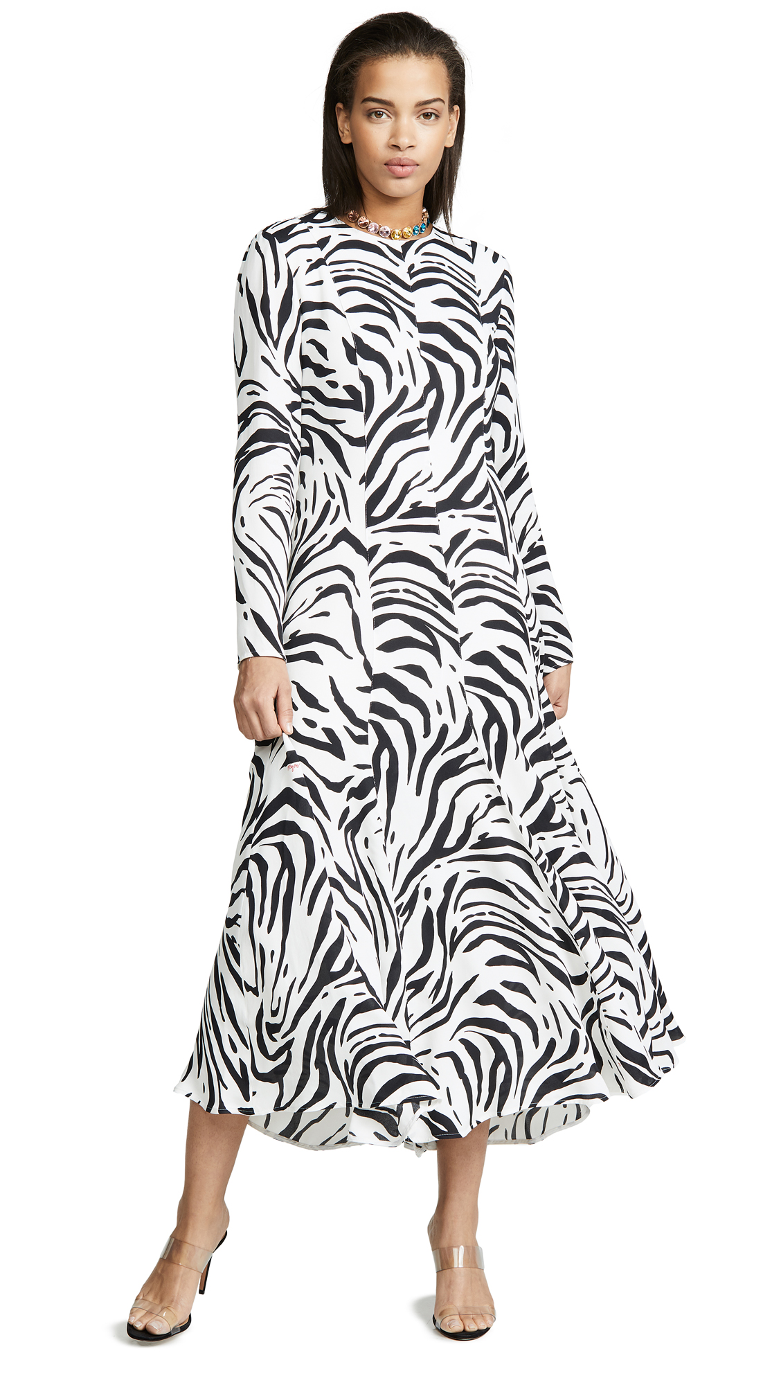 cffdbdd1ff2 Msgm Zebra Maxi Dress In Black White