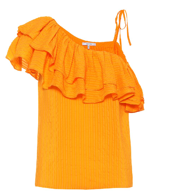 1f1a36b6 Ganni Wilkie Silk And Cotton Top In Orange | ModeSens